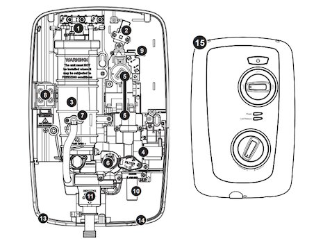 Triton Intimo thermostatic electric shower spares breakdown diagram