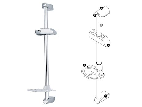 Triton Leon shower rail kit spares breakdown diagram
