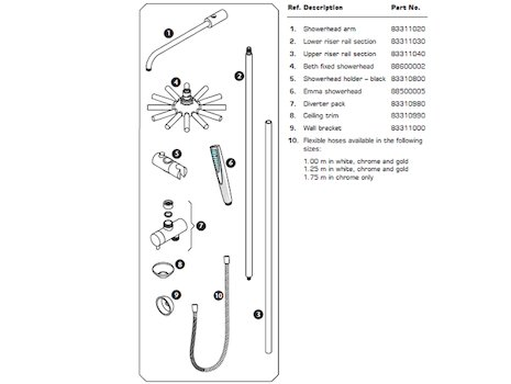 Triton Mellena satellites shower pole fittings spares breakdown diagram