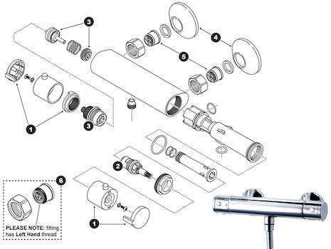 Triton Nene Cool Touch bar shower mixer spares breakdown diagram
