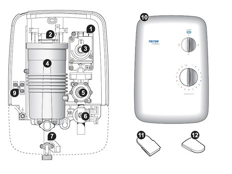 Triton Perluso electric shower spares breakdown diagram