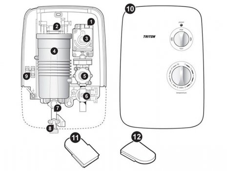 Triton Vega shower spares (2180891A) spares breakdown diagram