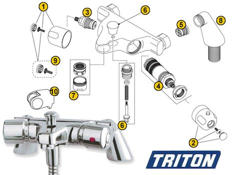 Triton Aire Bath/Shower Mixer (Aire) spares breakdown diagram