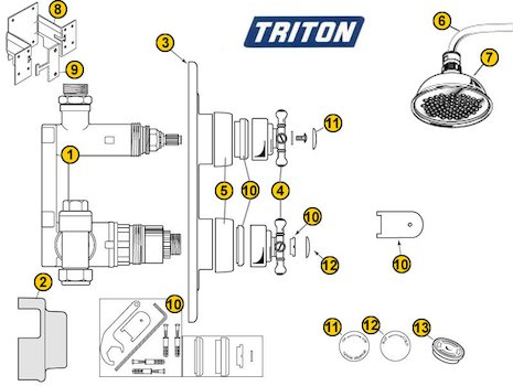 Triton DC7000 Antique (DC7000 Antique) spares breakdown diagram