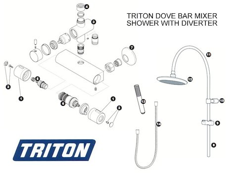 Triton Dove Bar Mixer Shower with Diverter (Dove) shower spares breakdown diagram