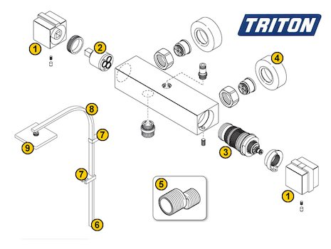 Triton Excellente V2 (Excellente V2) shower spares breakdown diagram