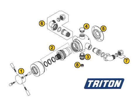 Triton Mersey Sequential Concealed (Mersey) spares breakdown diagram