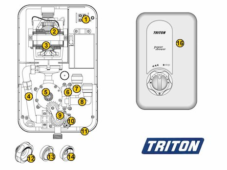 Triton Power Shower (Old style) (Power Shower) spares breakdown diagram