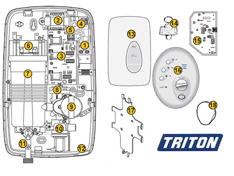 Triton T300si Wireless (T300si) spares breakdown diagram
