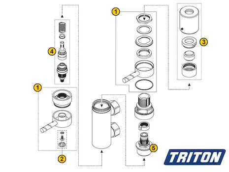 Triton Thames Vertical (Thames) spares breakdown diagram