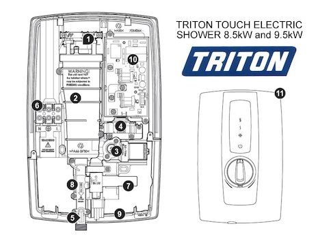 Triton Touch Electric Shower 9.5kW (Touch) spares breakdown diagram