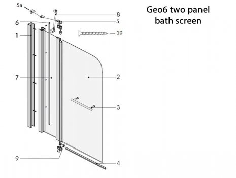 Twyford Geo6 2 panel bath screen spares breakdown diagram