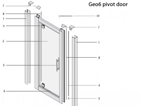 Twyford Geo6 pivot door spares breakdown diagram