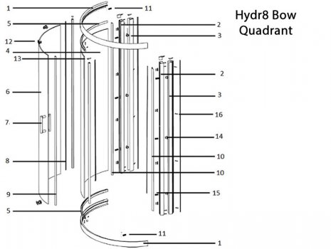 Twyford Hydr8 bow quadrant door spares spares breakdown diagram