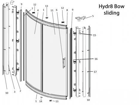 Twyford Hydr8 bow sliding door (H88501CP) spares breakdown diagram