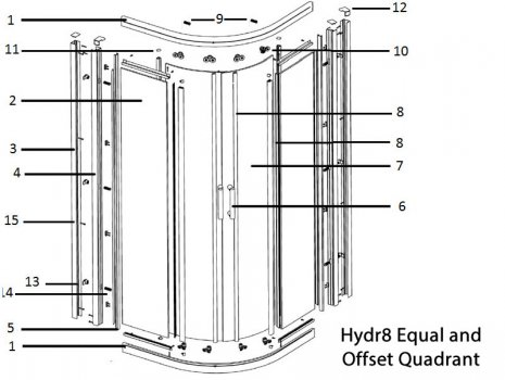 Twyford Hydr8 equal and offset Quadrant door spares spares breakdown diagram