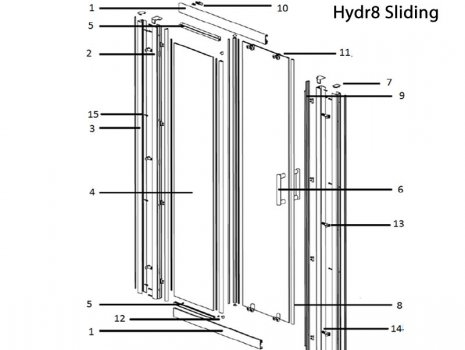 Twyford Hydr8 sliding door spares spares breakdown diagram