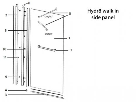 Twyford Hydr8 walk in side panel spares breakdown diagram